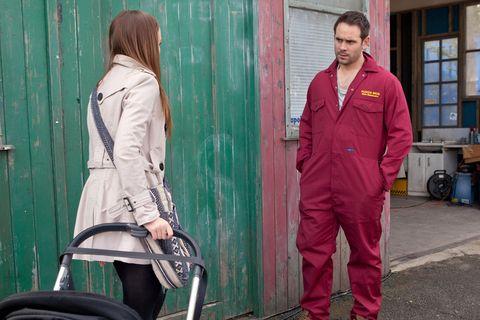 Joe stops Kim when she starts to wheel JJ away from the garage.