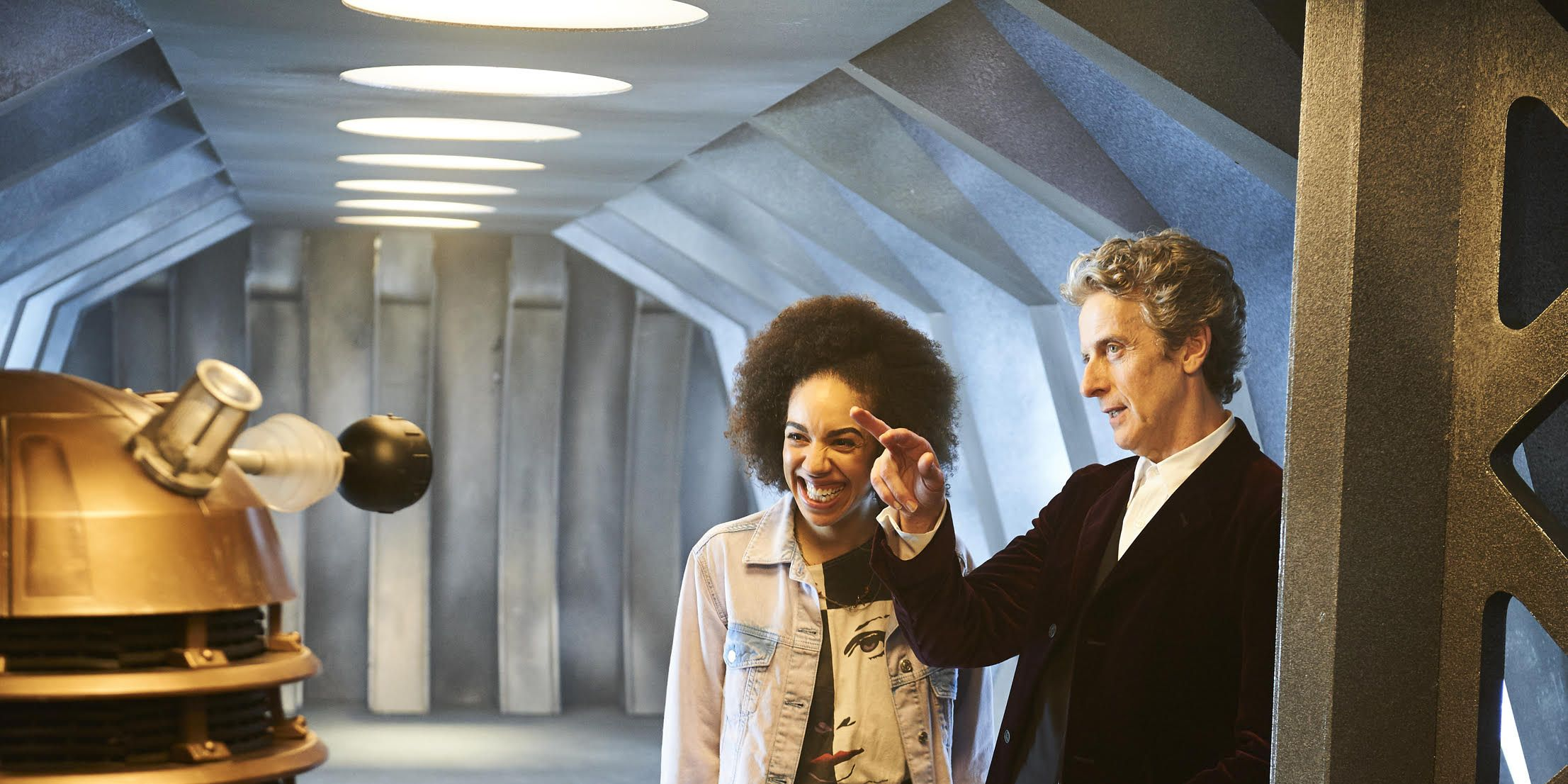 Pearl Mackie in Doctor Who with Peter Capaldi