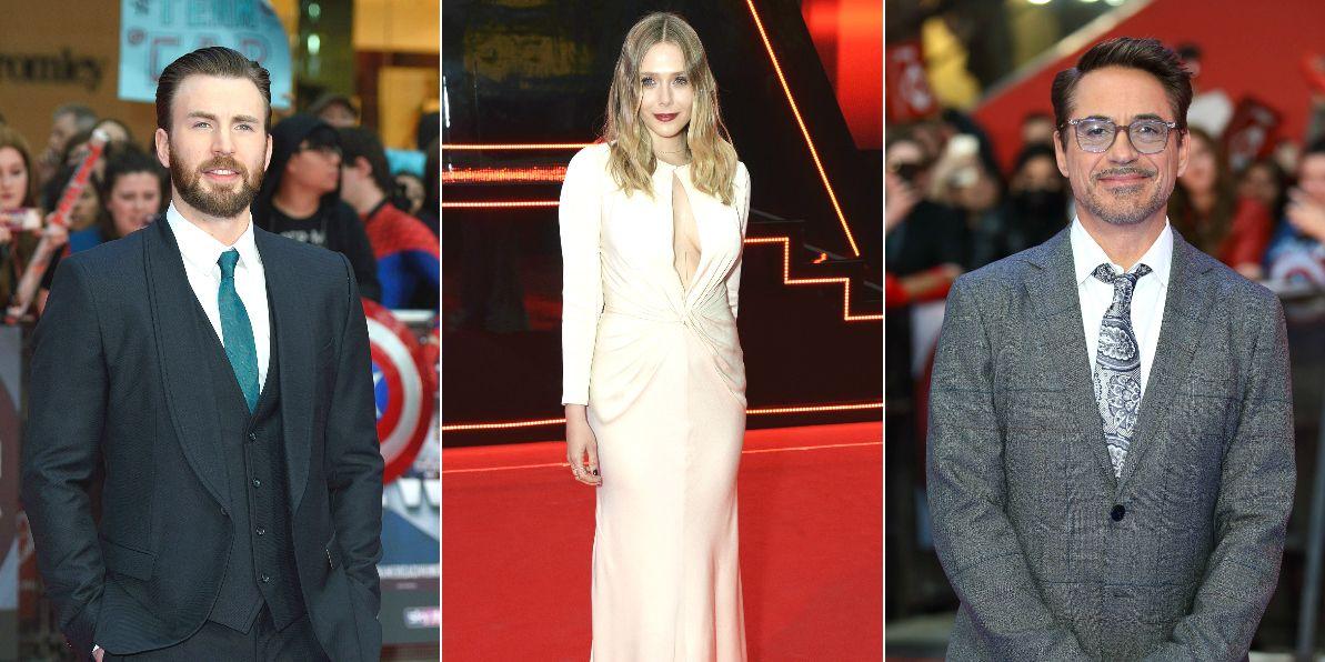 Captain America: Civil War UK Premiere, London, Chris Evans, Elizabeth Olsen and Robert Downey Jr.