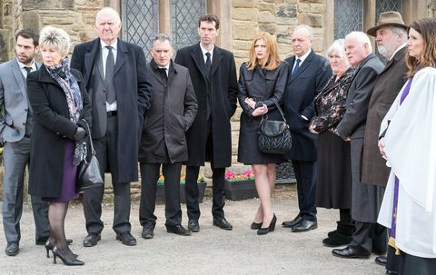 Everyone gathers outside the church for Edna's funeral