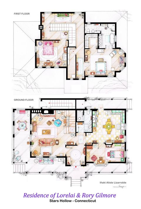 TV floorplans - how the apartments in your favourite shows are ... on lady gaga house, black hole house, psy house, lee hyori house, big party house, iggy azalea house, mariah carey house, lollipop house, big long house,