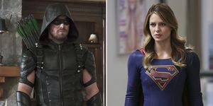 Stephen Amell in Arrow and Melissa Benoist in Supergirl