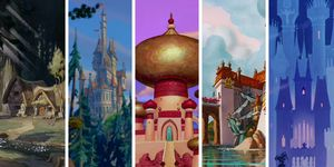 Disney Homes, The Dwarves Cottage, The Beast's Castle, The Sultan's Castle, Prince Eric's Castle, Prince Charming's Castle.