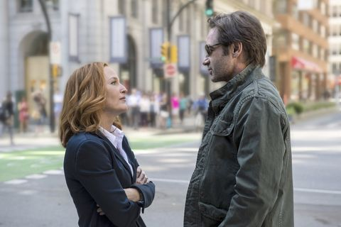 Gillian Anderson and David Duchovny as Mulder and Scully in X-Files season 10