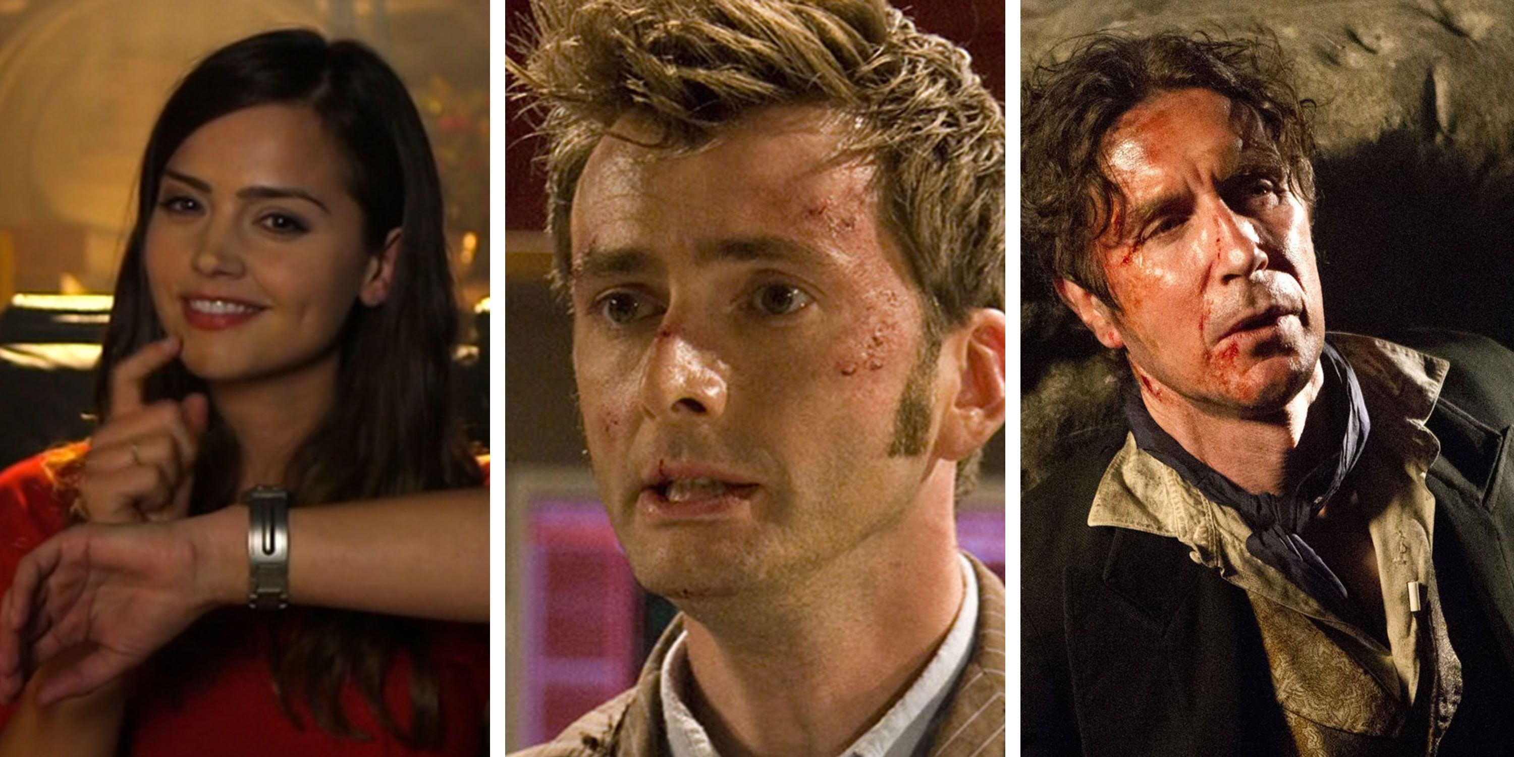 Jenna Coleman as Oswin in the episode 'Asylum of the Daleks', Paul McGann in 'The Night of the Doctor' and David Tennant in 'The End of Time'