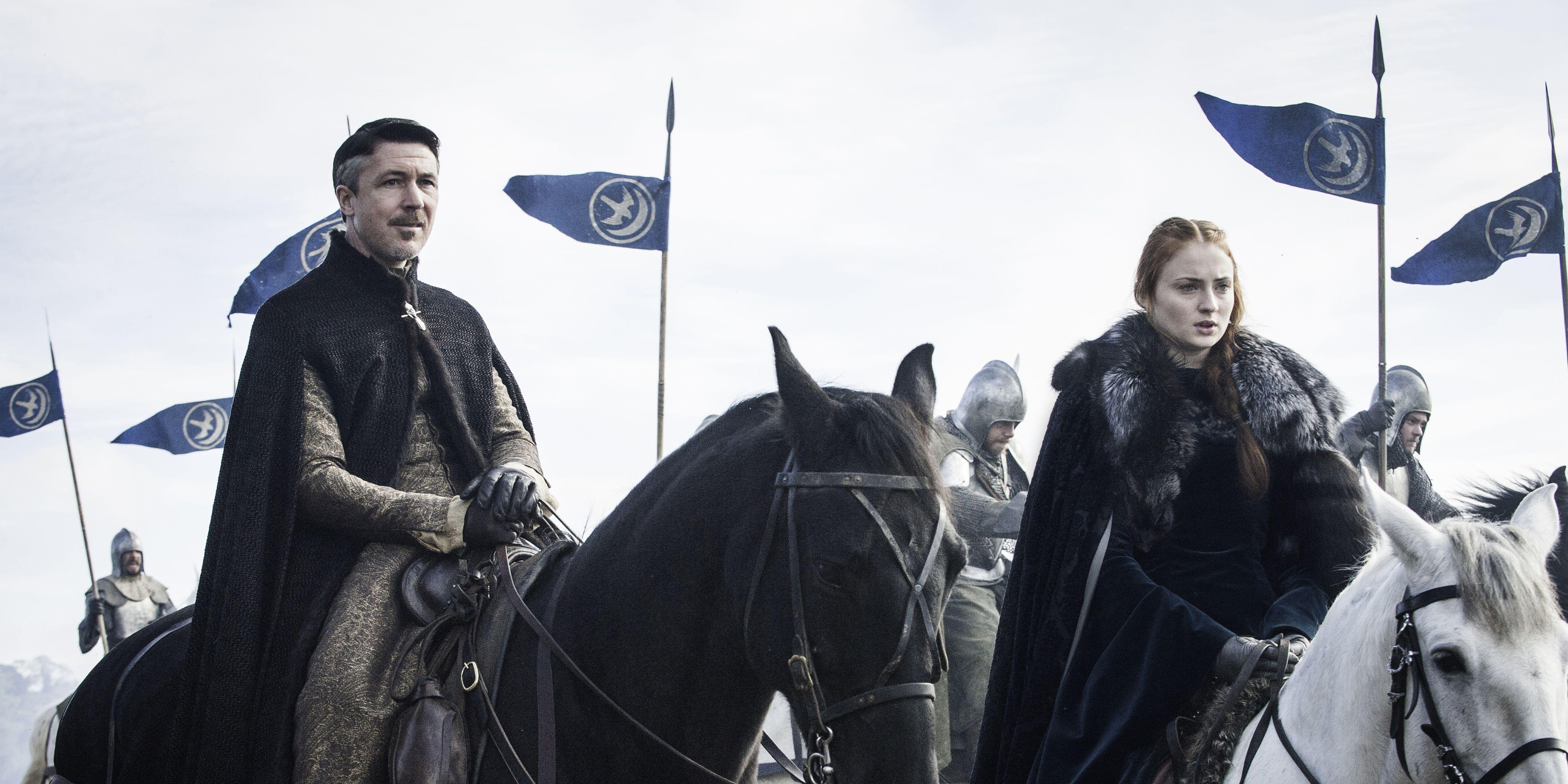 Littlefinger and Sansa in Game of Thrones s06e09, 'Battle of the Bastards'