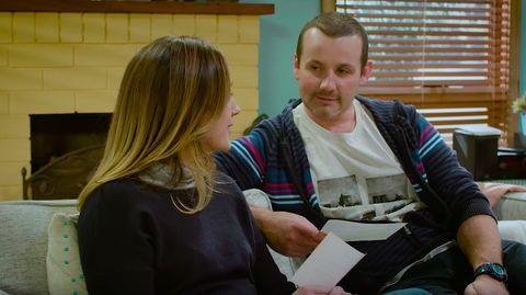 Ryan Moloney (Toadie Rebecchi) and Eve Morey (Sonya Rebecchi)  in Neighbours