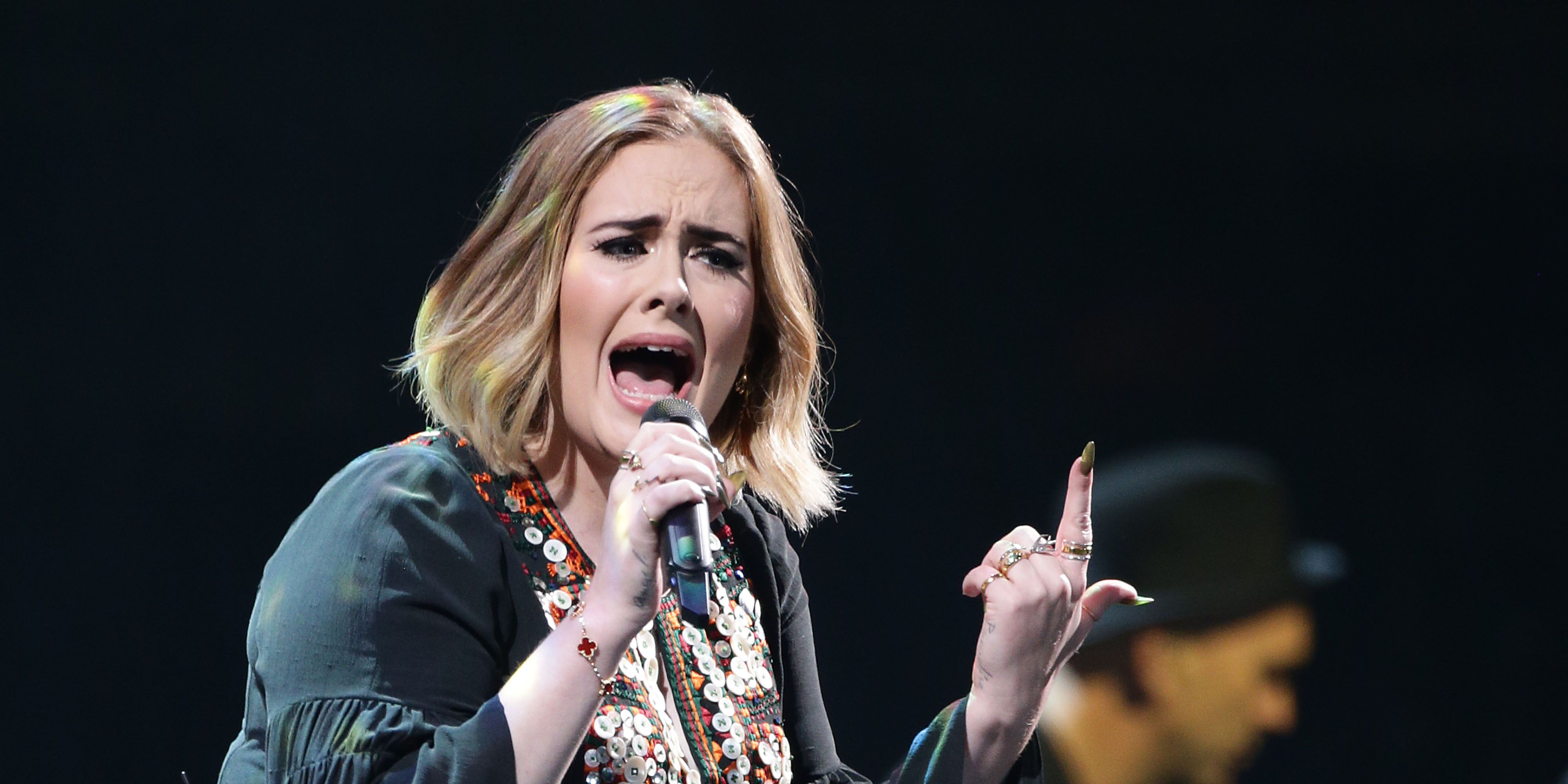 Adele performs on Glastonbury's Pyramid Stage on Day 2