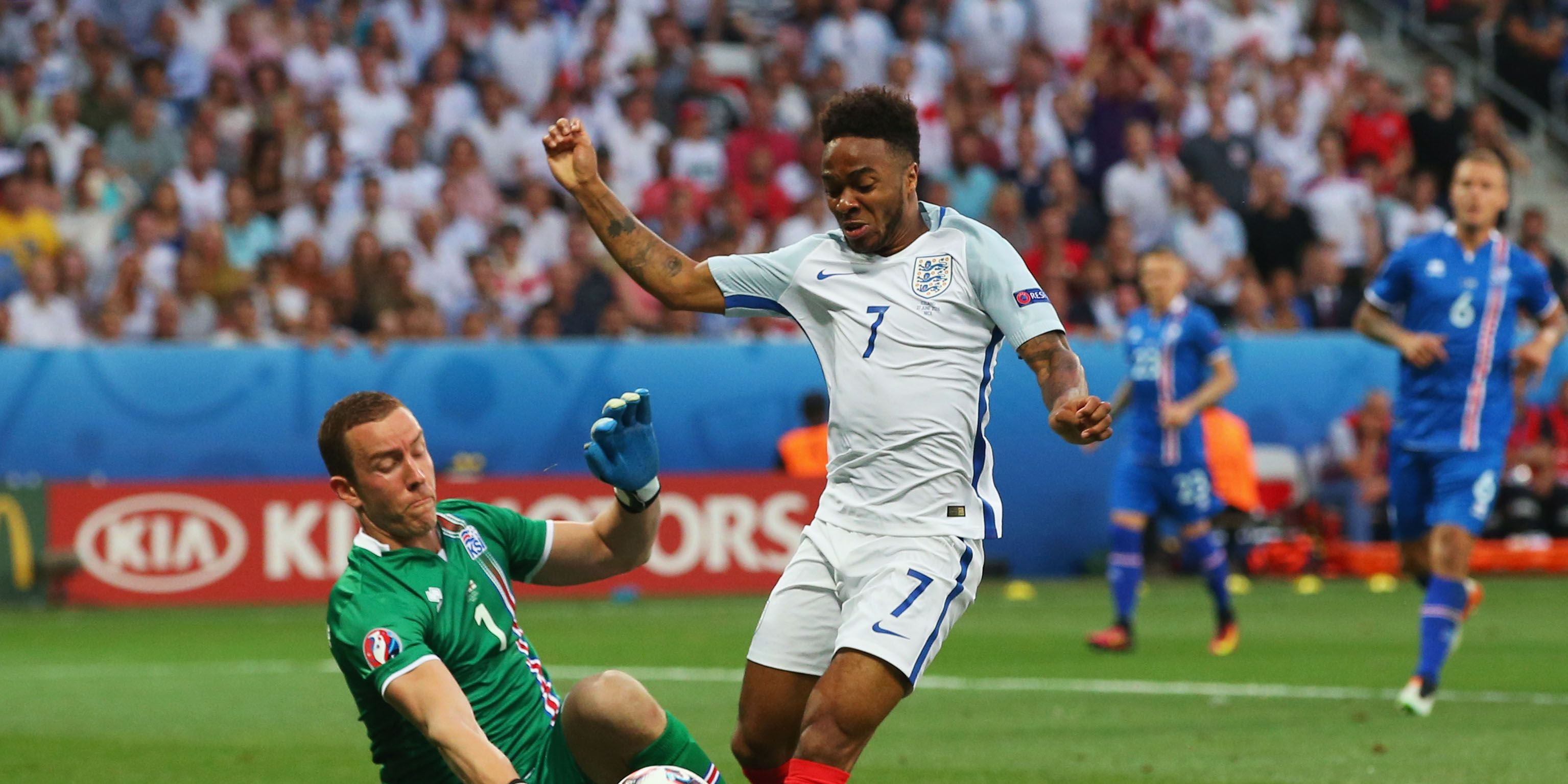 Raheem Sterling of England is fouled in the penalty area by Hannes Halldorsson of Ireland in Euro 2016