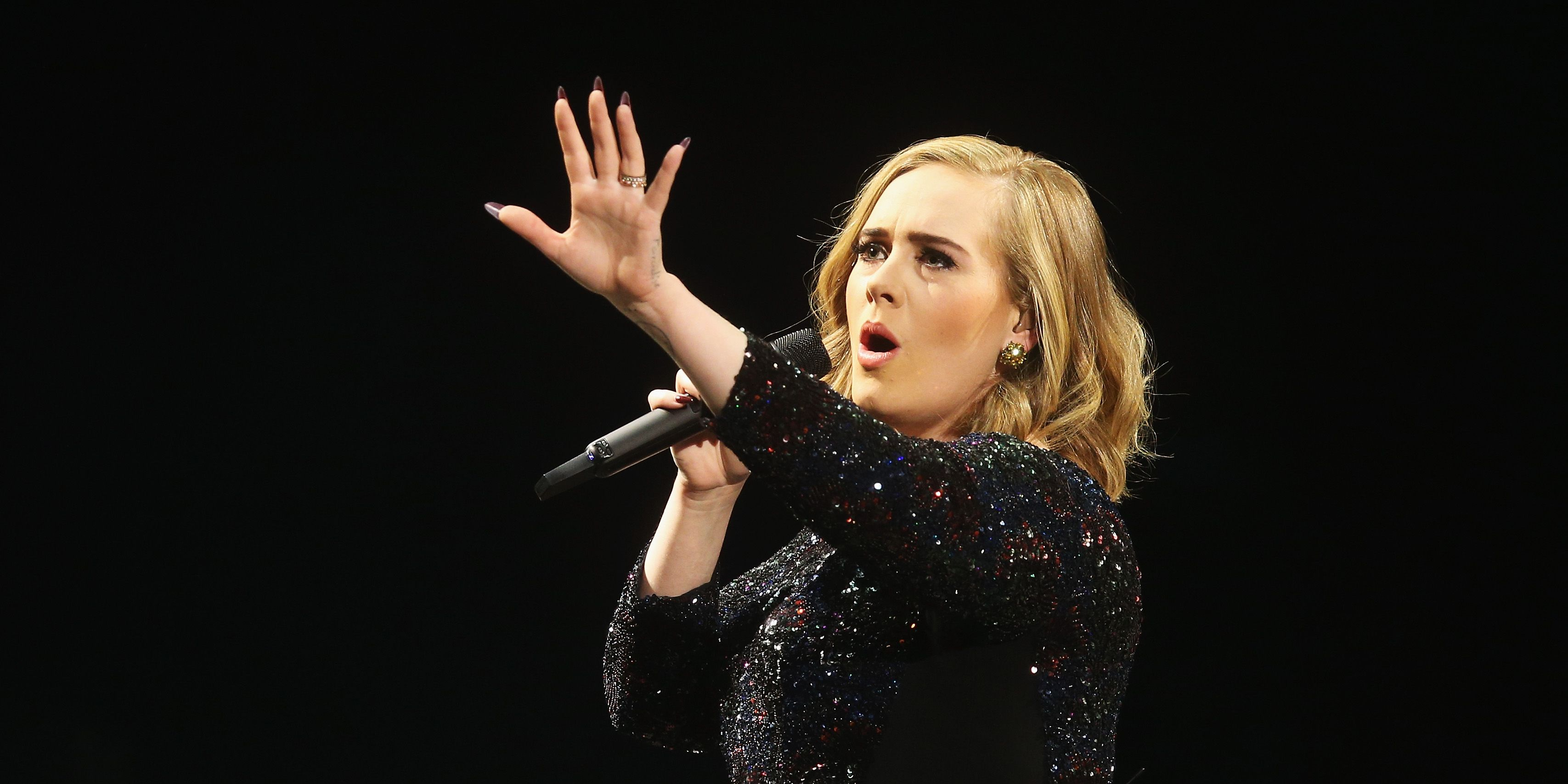 HAMBURG, GERMANY - MAY 10: Adele performs at Barclaycard Arena on May 10, 2016 in Hamburg, Germany.
