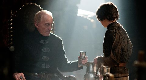 Tywin Lannister and Arya Stark in Game of Thrones