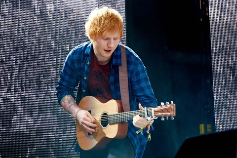 Ed Sheeran performs on Day 3 of the Glastonbury Festival at Worthy Farm on June 29, 2014