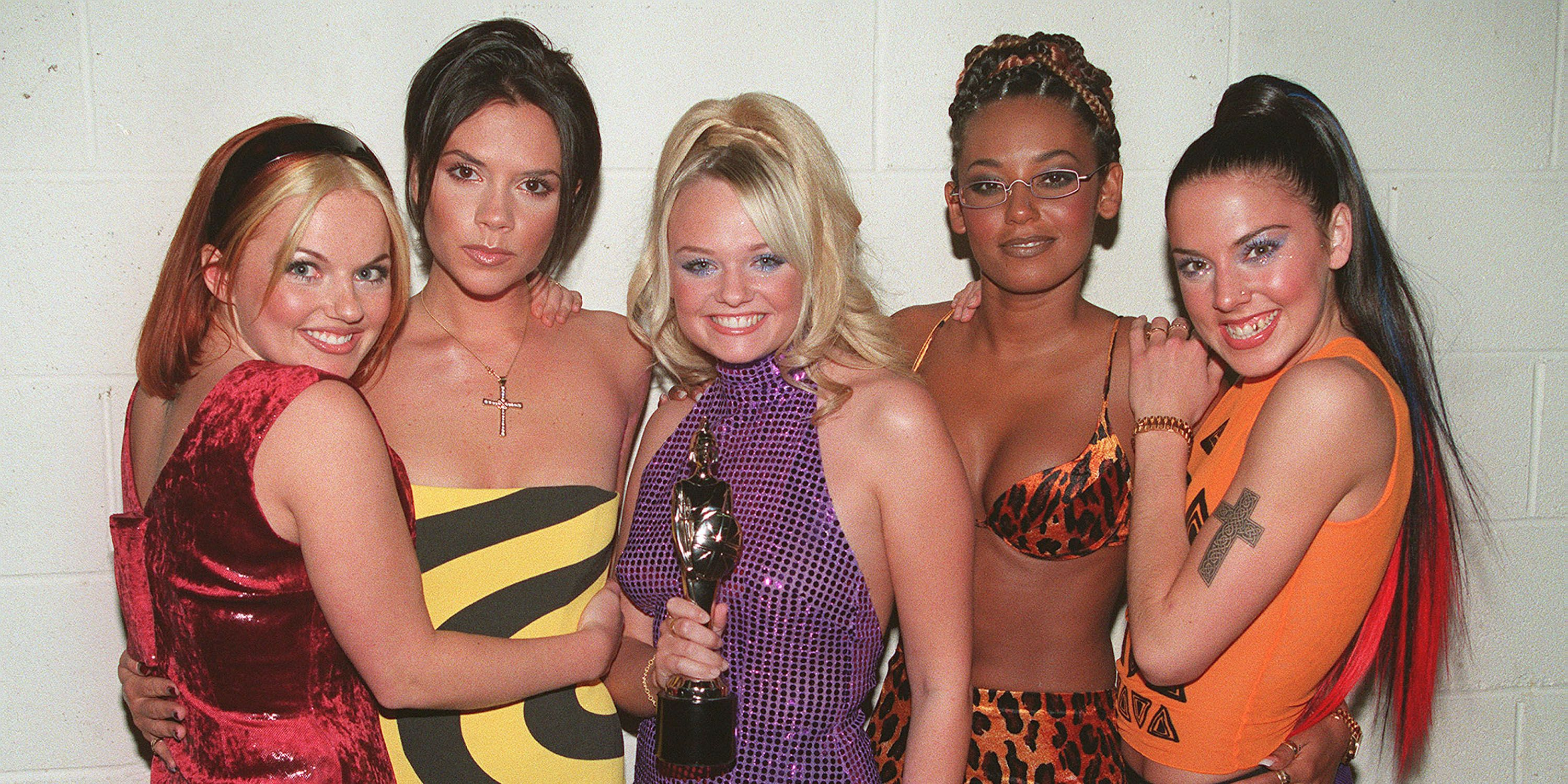 LONDON - 1995: The Spice Girls L to R Geri Halliwell, Victoria Adams, Emma Bunton, Melanie Brown and Melanie Chisholm at the Brit Awards.