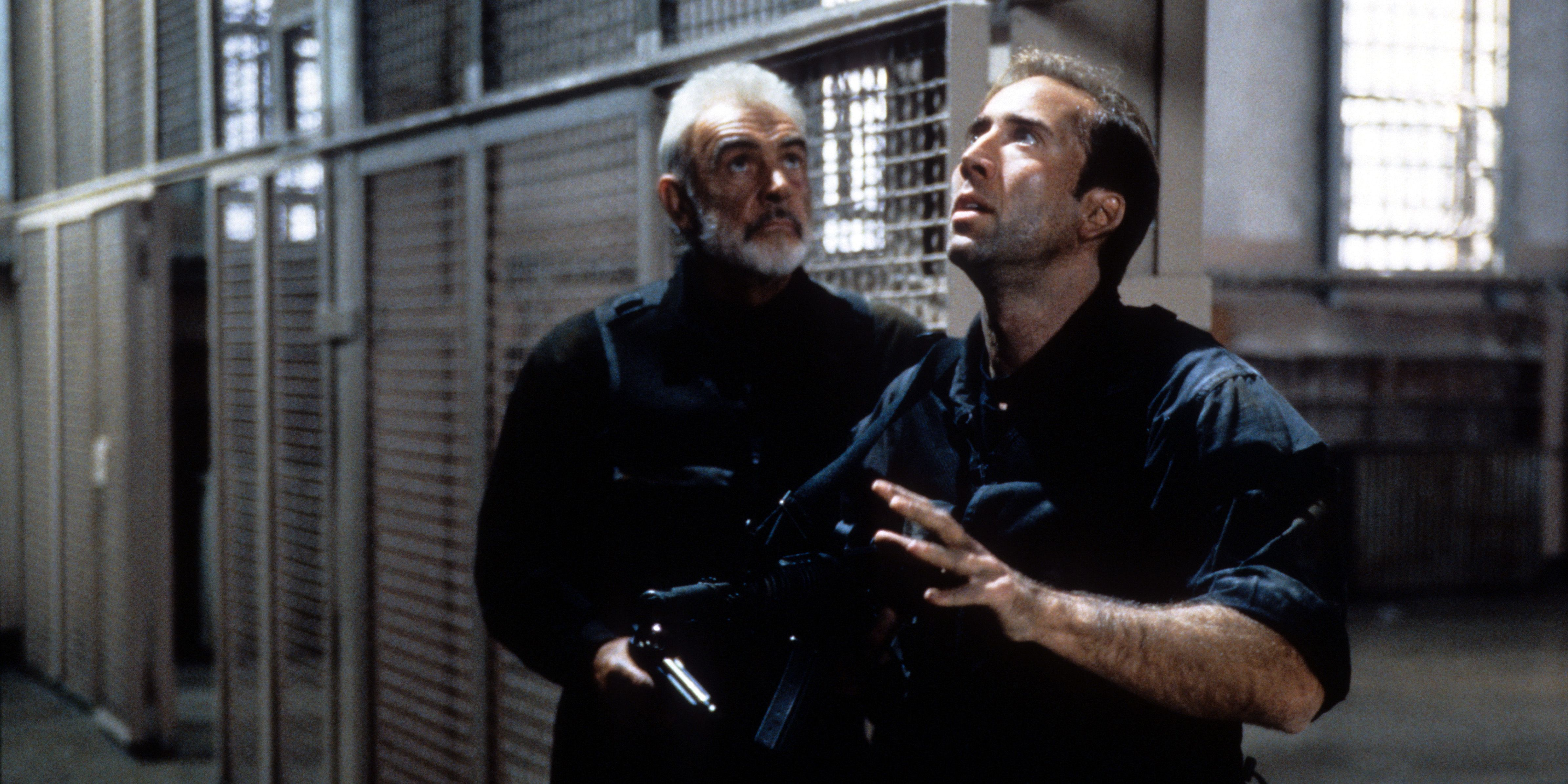 Sean Connery and Nicolas Cage in a scene from the film 'The Rock' (1996)