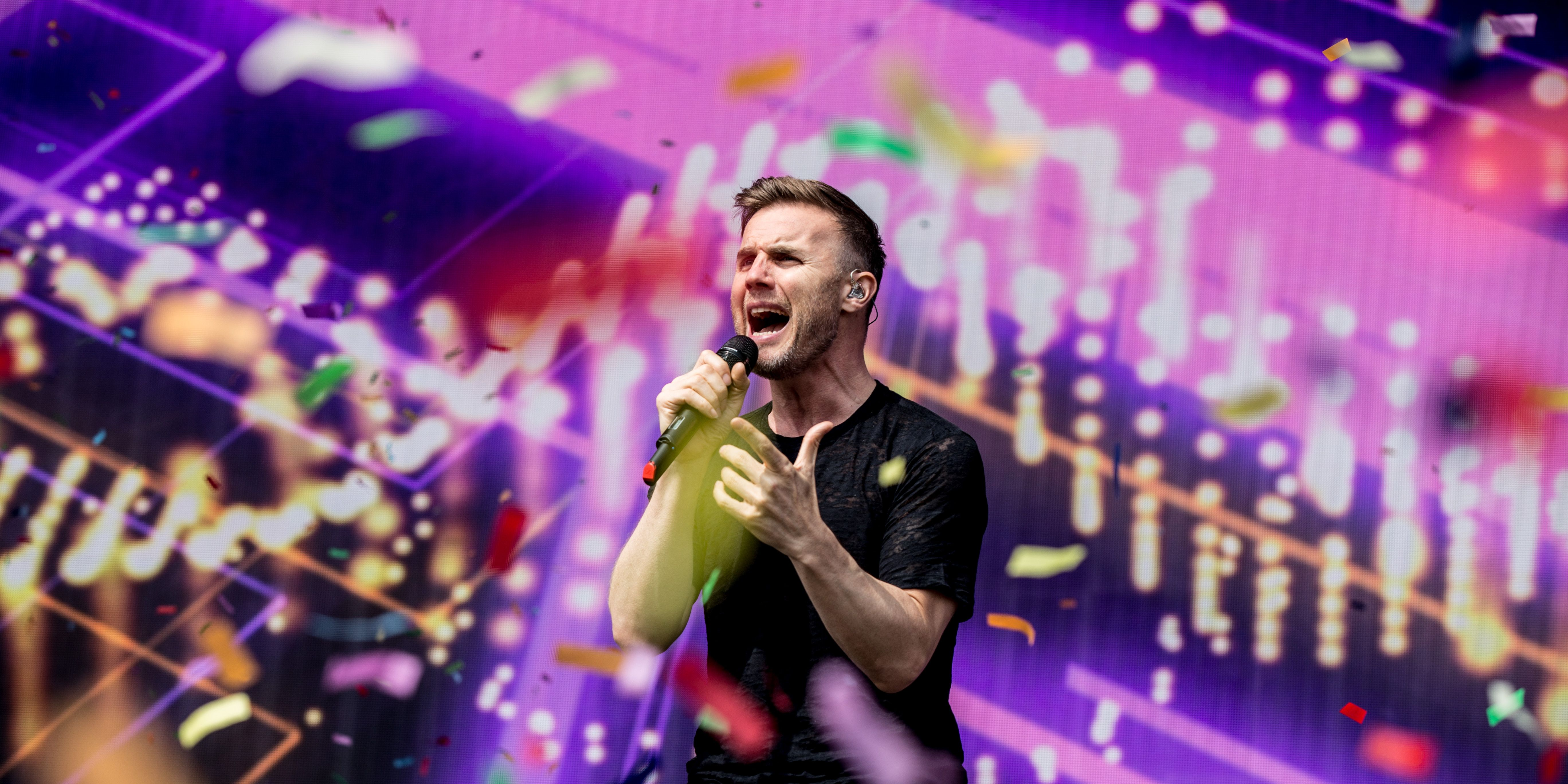 Gary Barlow performs with Take That at Radio 1's Big Weekend