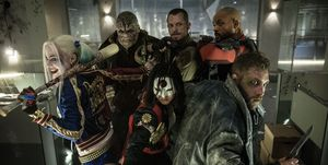 Suicide Squad, Margot Robbie as Harley Quinn, Adewale Akinnuoye-Agbaje as Killer Croc, Karen Fukuhara as Katana, Joel Kinnaman as Rick Flagg, Jai Courtney as Boomerang and Will Smith as Deadshot