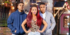 Goldie McQueen with Prince and Hunter in Hollyoaks