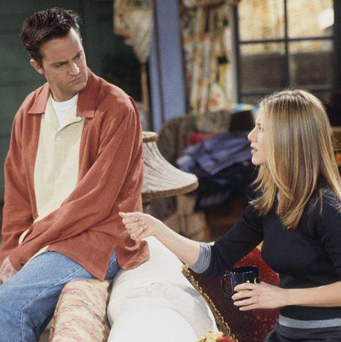 Matthew Perry as Chandler Bing and Jennifer Aniston as Rachel Green on Friends