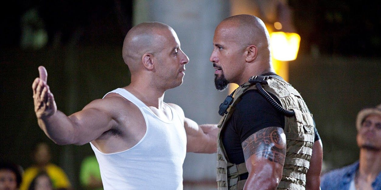 Vin Diesel and Dwayne Johnson in Fast and Furious 5