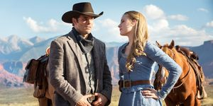 James Marsden as Teddy and Evan Rachel Wood as Dolores Abernathy in Westworld