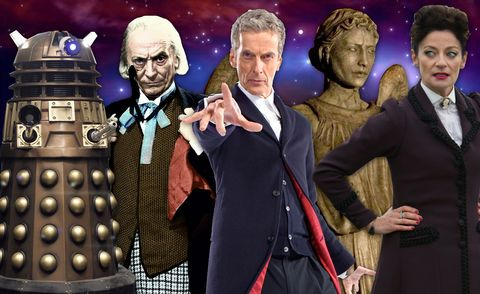 Peter Capaldi, William Hartnell , a Dalek, a Weeping Angel, Michelle Gomez as Missy. Dr Who