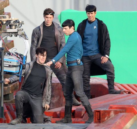 Untitled Star Trek sequel film set, Los Angeles, America - 21 Feb 2012Fight scene between Zachary Quinto (as Spock) and Benedict Cumberbatch, with their stunt doubles standing behind21 Feb 2012