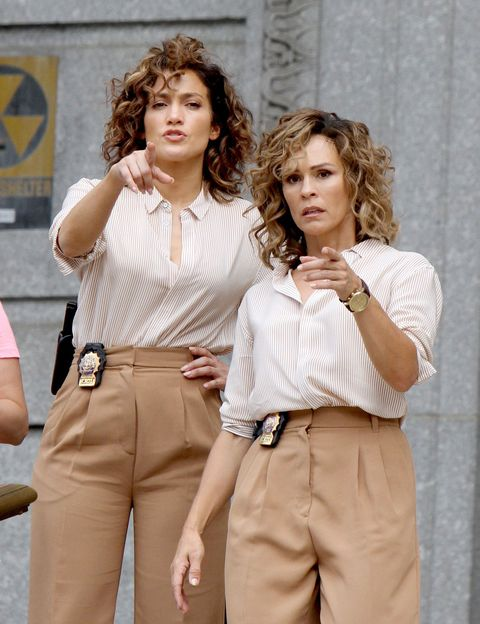 Jennifer Lopez with stunt double filming Shades of Blue TV series in New York