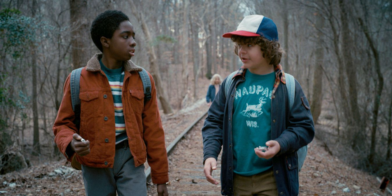 Lucas and Dustin in Stranger Things on Netflix