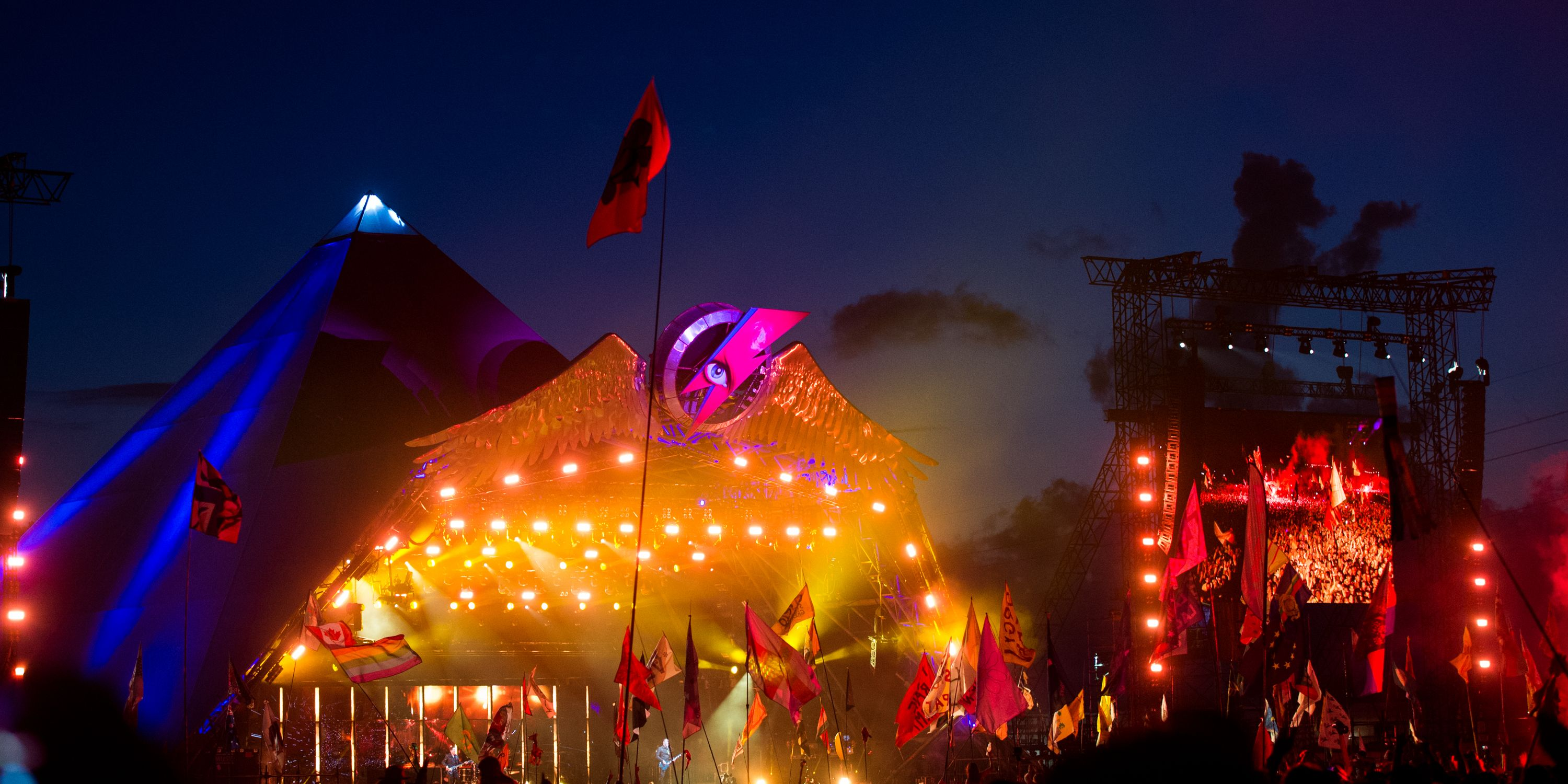 GLASTONBURY, ENGLAND - JUNE 24: A general view of the Pyramid Stage as Muse perform at Glastonbury Festival 2016 at Worthy Farm, Pilton on June 24, 2016 in Glastonbury, England.
