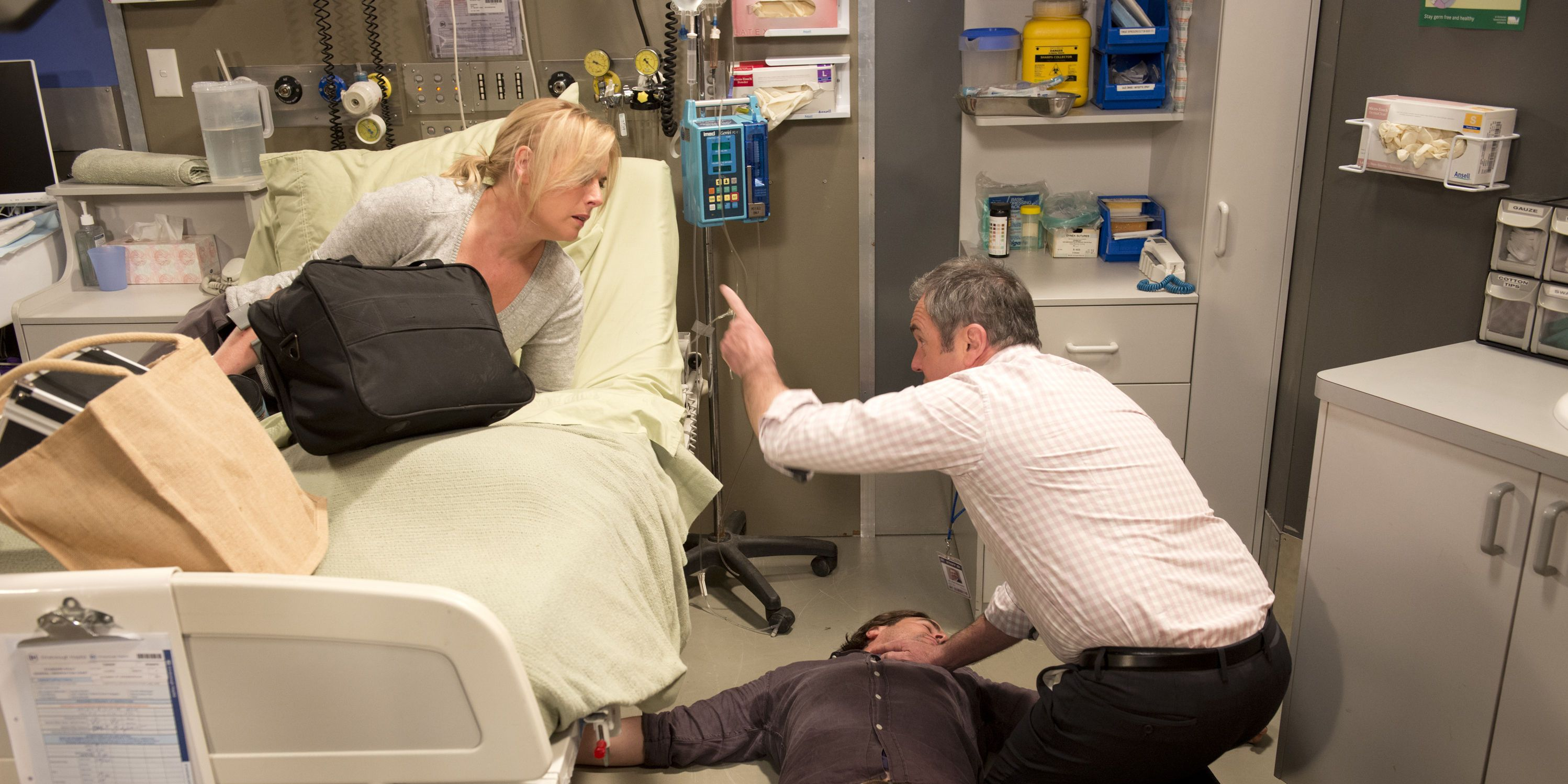 Brad Willis collapses in Neighbours