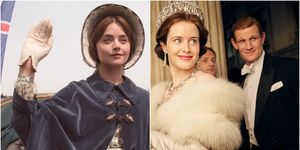 Jenna Coleman in ITV's Victoria, Claire Foy in Netflix's The Crown