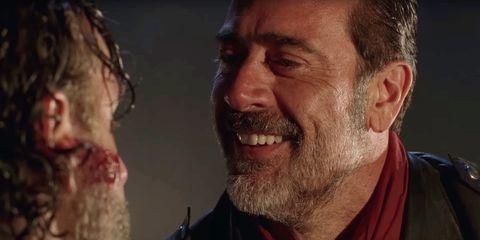 Negan grins in The Walking Dead season 7 premiere