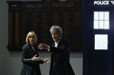 Class: The Doctor (Peter Capaldi) and Miss Quill (Katherine Kelly) race for the TARDIS