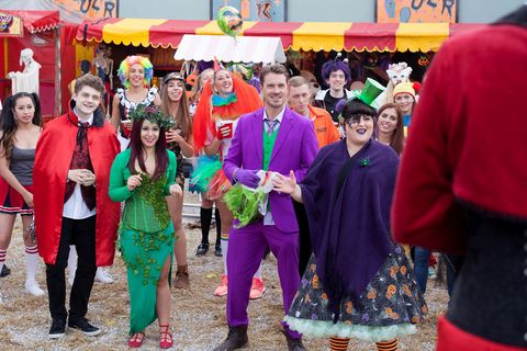 The villagers gather for the Halloween Spooktacular in Hollyoaks