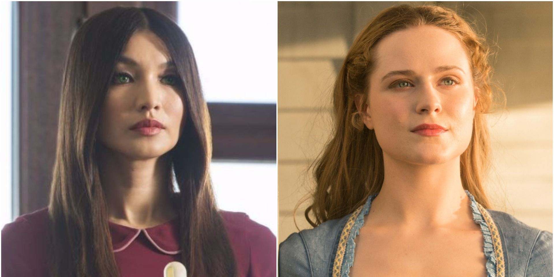 Gemma Chan in Channel 4's Humans, Evan Rachel Wood in HBO's Westworld