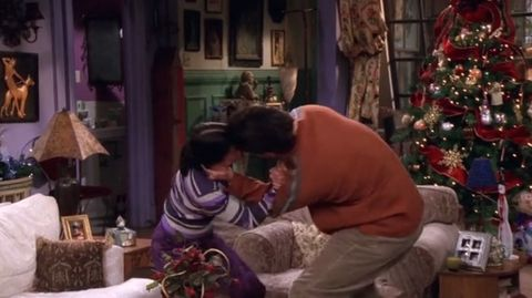 Courteney Cox as Monica and David Schwimmer as Ross on Friends