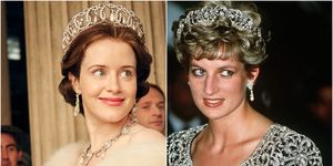 Claire Foy as Queen Elizabeth in The Crown and the real Princess Diana