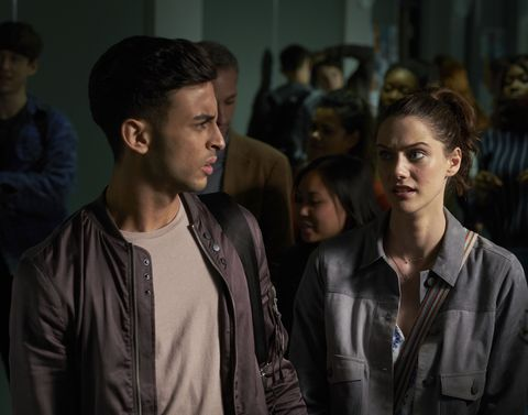 Fady Elsayed as Ram and Sophie Hopkins as April in 'Class' s01e04