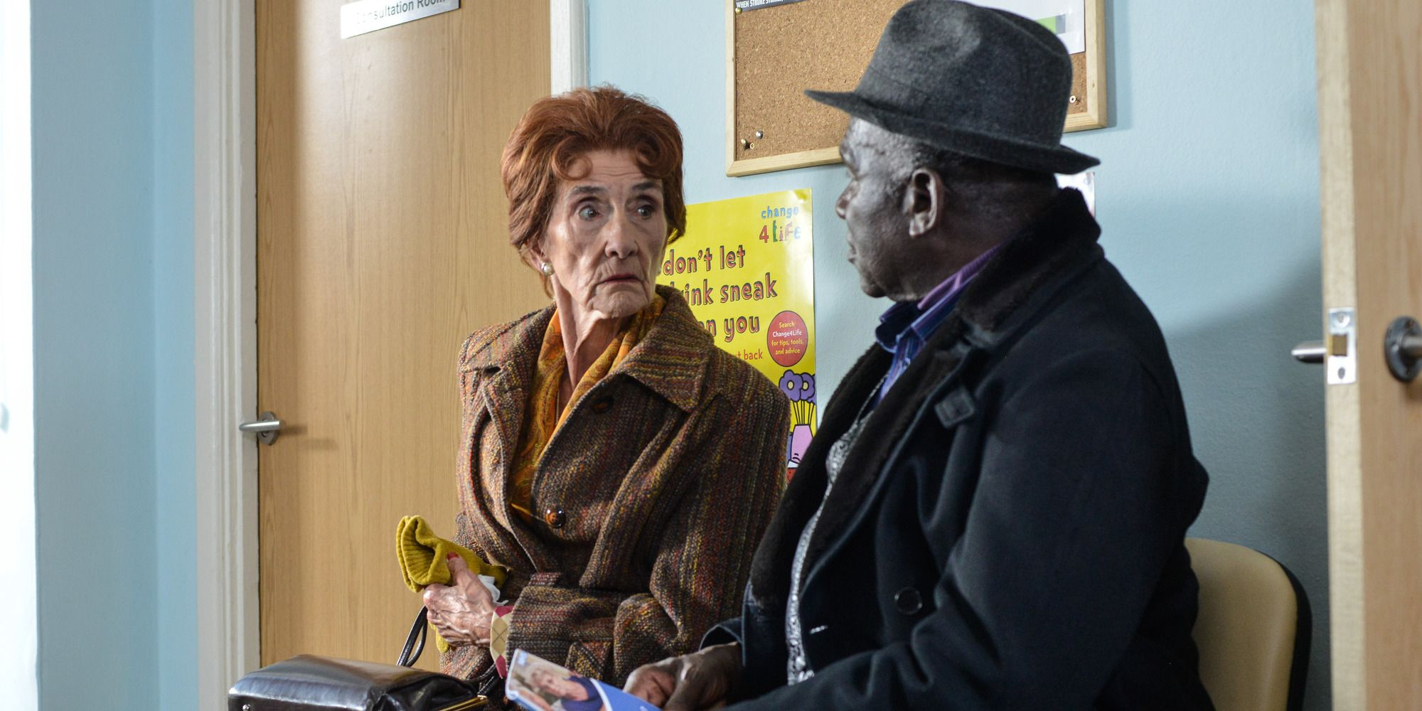Patrick Trueman joins Dot Branning as she attends her doctors appointment in EastEnders