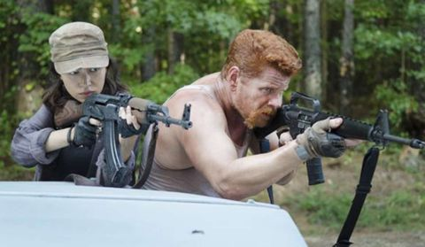 Abraham and Rosita in Walking Dead