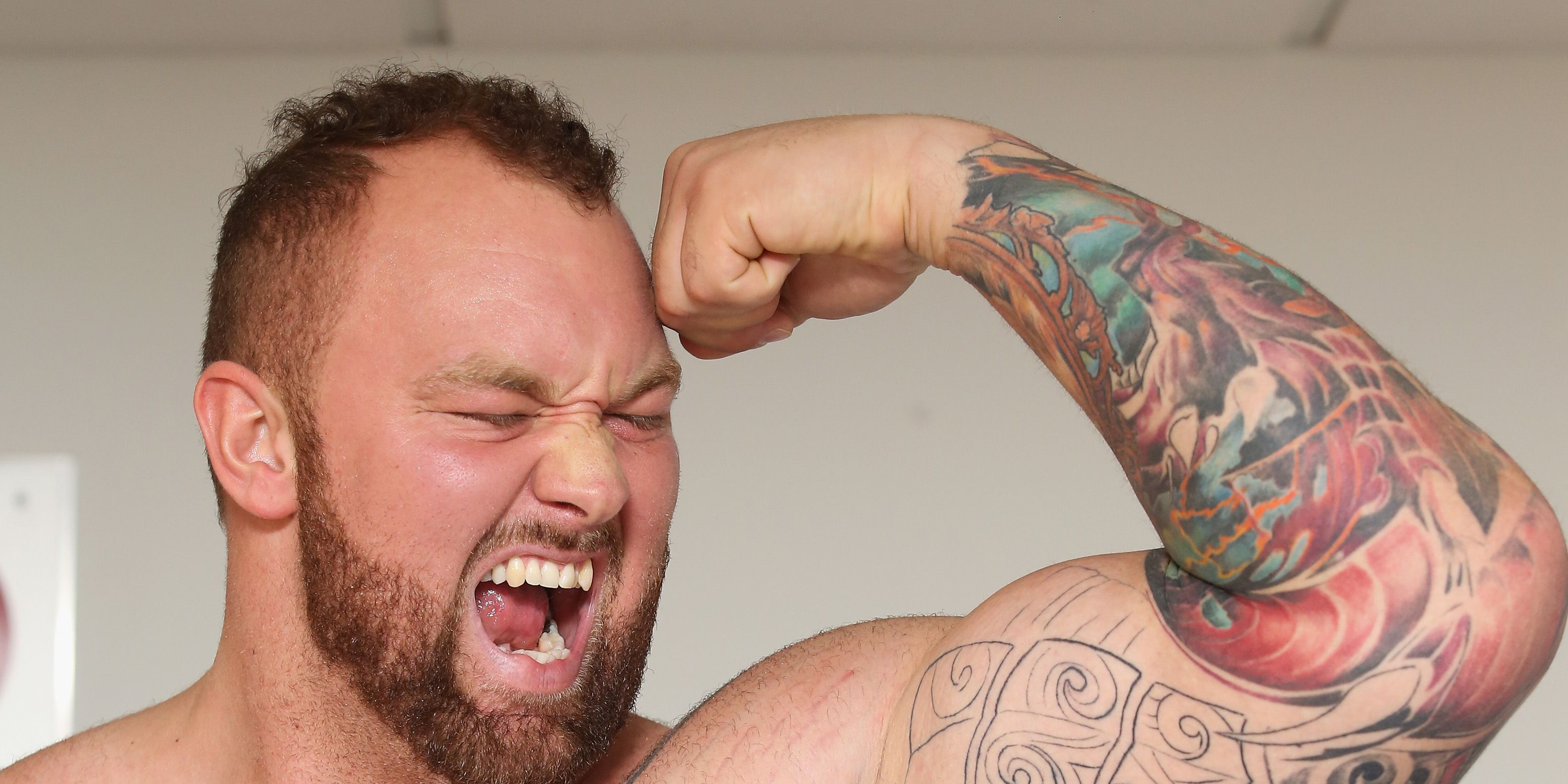 Hafthor Julius Bjornsson attends a press conference during the Expo Fitness Mexico 2015