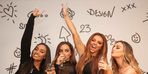 Little Mix celebrate their album Glory Days going to No.1 in the UK.