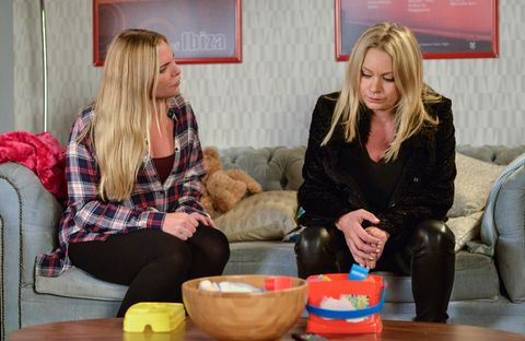 Ronnie and Roxy Mitchell discuss what's going on in EastEnders