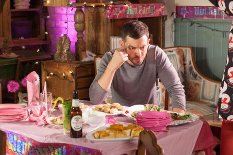 Cameron Campbell is furious as Zack Loveday strips at Leela Lomax's hen party in Hollyoaks