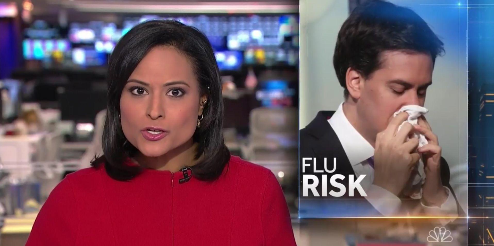 Ed Miliband flu risk stock photo