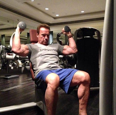 Arnold Schwarzenegger, gym work out