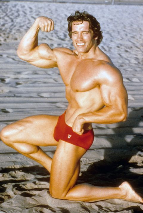 Arnold Schwarzenegger, Austrian Bodybuilder  poses for a portrait on Venice Beach in August 1977 in Los Angeles, California