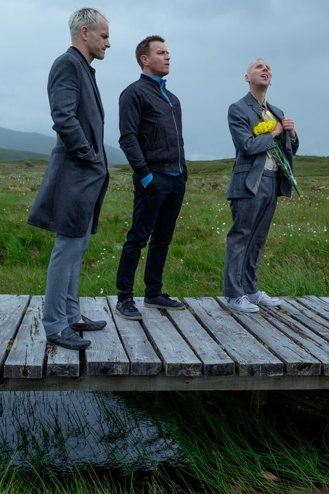 Simon (Jonny Lee Miller), Mark Renton (Ewan McGregor) and Spud (Ewen Bremner) in T2 Trainspotting