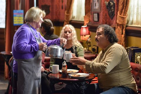 Aunt Babe serves beer at breakfast at the Queen Vic in EastEnders