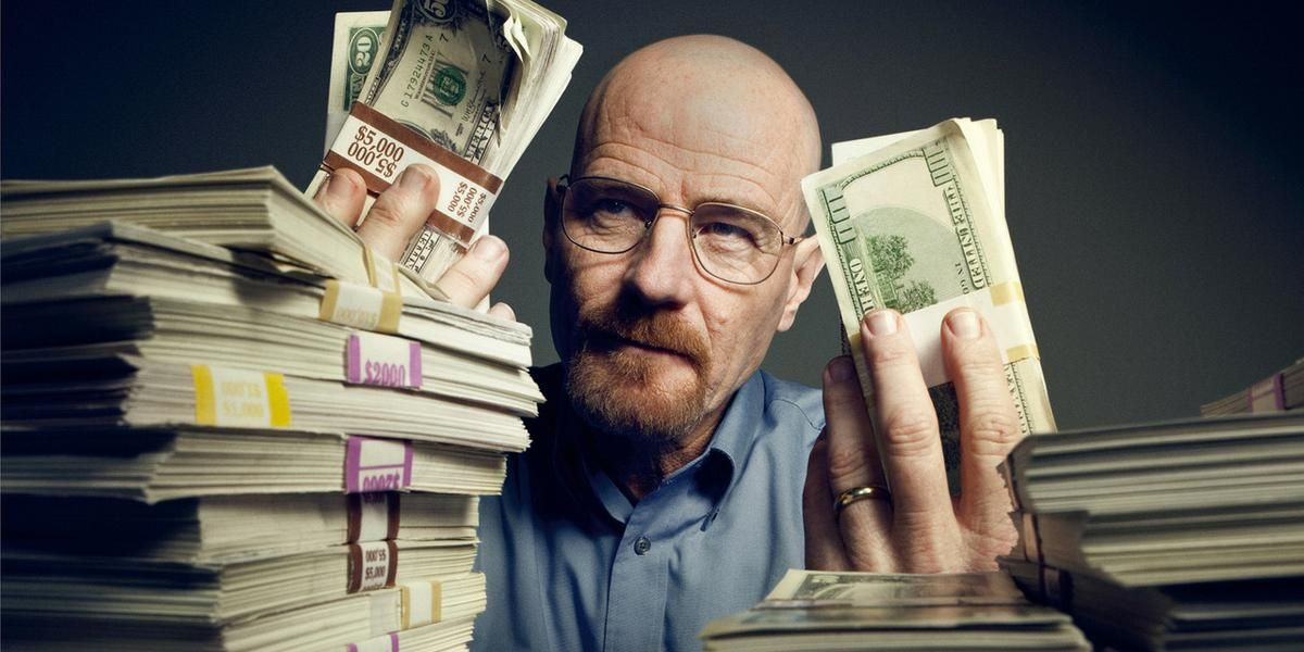 Bryan Cranston as Walter White in Breaking Bad with Money